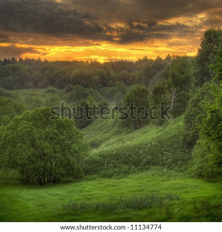 Summer sunrise in Moscow - stock photo