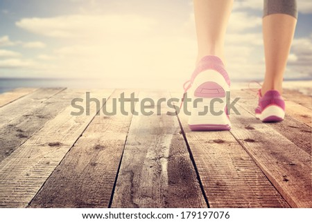 summer sunset and shoes of sport  - stock photo