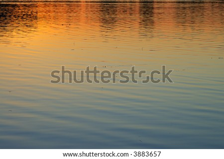 Summer sunset on a surface of a lake Jarun in Zagreb - stock photo
