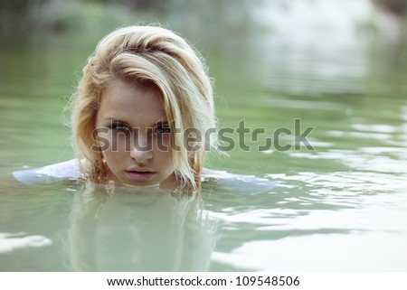 summer teen water lake activity blond swimming