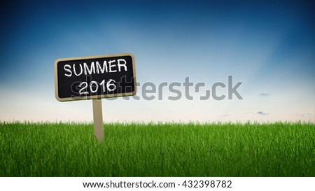 Summer 2016 text in white chalk on blackboard sign in green grass under clear blue sky background. 3d Rendering. - stock photo
