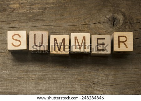 summer text on a wooden background - stock photo