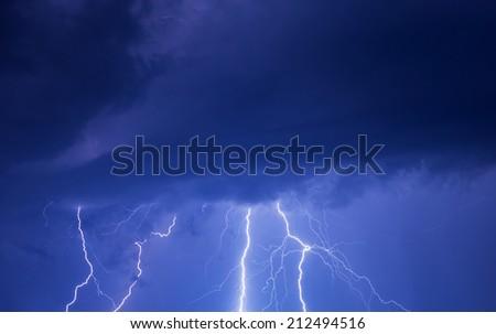 Summer thunderstorm at night - stock photo