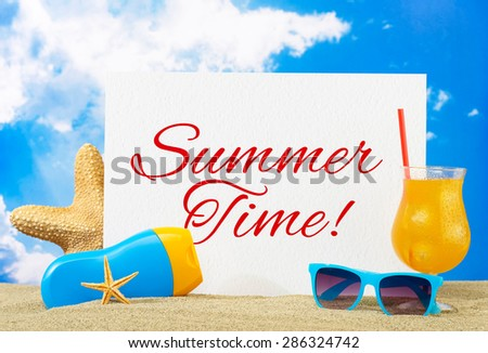 Summer time banner - stock photo