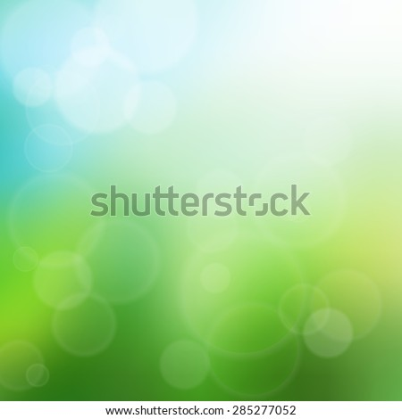 Summer time bokeh background illustration. Glowing summer, blue sky and green grass.