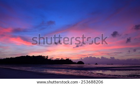 Summer time concept, Nice beach and sunset sky in Payam island, Thailand - stock photo