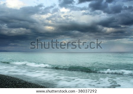 summer time sea landscape with clouds - stock photo