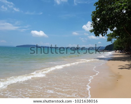 Summer time, stunning view of beach and clear blue sky