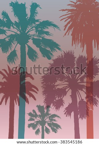 Summer Travel Background with Palms . Exotic Banner for Tourism.  Print  for T-shirt.