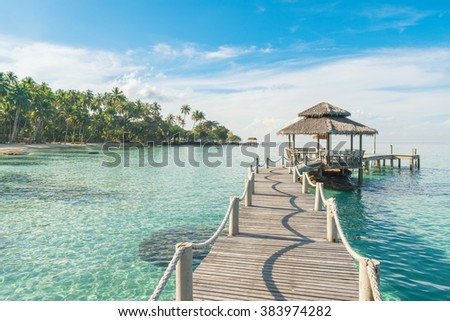 Summer, Travel, Vacation and Holiday concept - Wooden pier in Phuket, Thailand. - stock photo