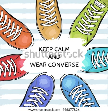 Summer trendy sports shoes. Feet in sports shoes sneakers.  illustration - stock photo