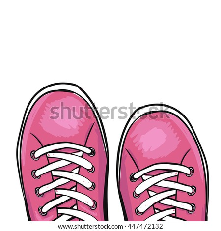 Summer trendy sports shoes.Pink colour - stock photo