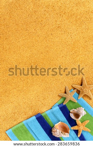 Summer tropical beach background border, starfish, copy space, vertical - stock photo