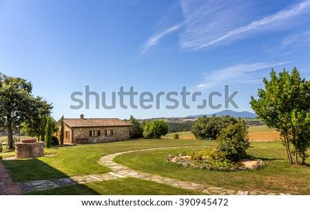 Summer Tuscan scenery near old Pienza town - stock photo