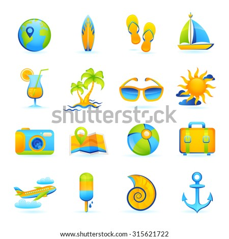 Summer vacation beach holidays icons set with cocktail palm glasses camera isolated  illustration
