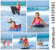 Summer vacation - Collage of two cute girls having fun with surfboard in the ocean - stock photo