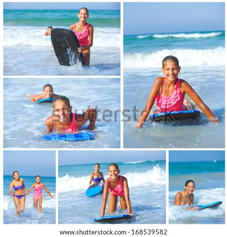 Summer vacation - Collage of two cute girls having fun with surfboard in the ocean
