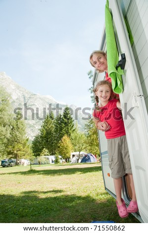 Summer vacation - family camping - stock photo