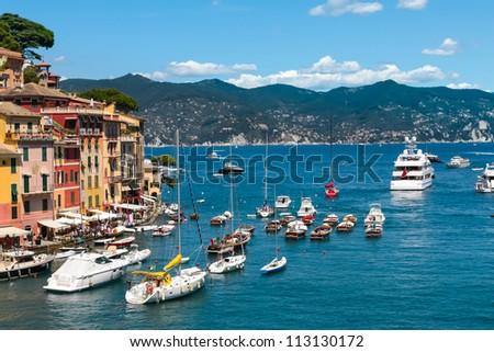 Summer vacation in Portofino village, Ligurian Coast, Italy - stock photo