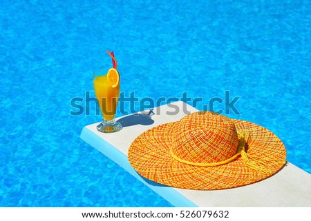 Summer vacation scene, cocktail party at swimming pool