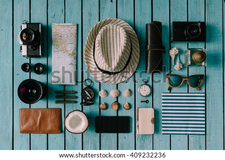 Summer vacation things neatly organised. Travel concept. Flat lay. - stock photo