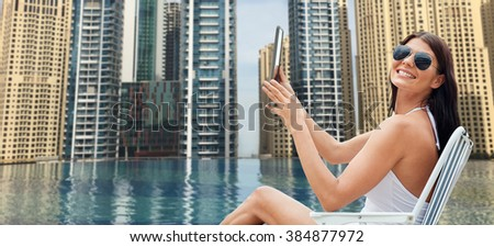 Summer Vacation Tourism Travel Holidays And People Concept Smiling Young Woman With
