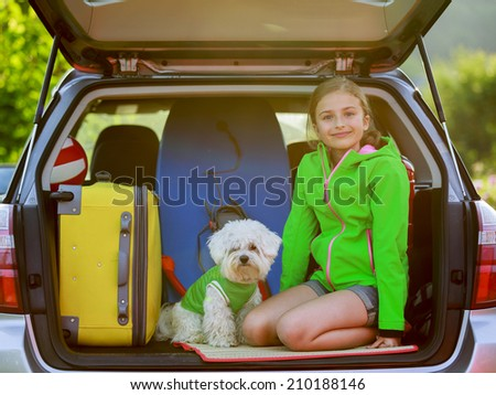 Summer vacation, Travel - young girl ready for the travel for summer vacation - stock photo