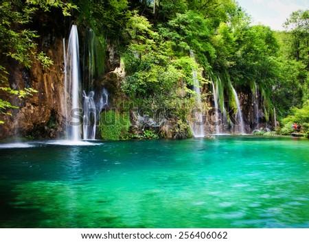 Summer view of beautiful waterfalls in Plitvice Lakes National Park, Croatia - stock photo