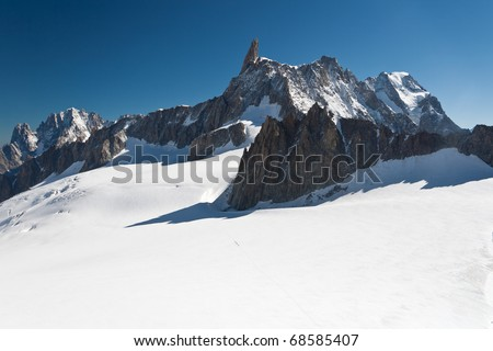 summer view of Dent du Geant peak and glacier in Mont Blanc massif