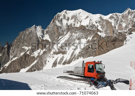 summer view of Mont Blanc massif from Helbronner peak - stock photo