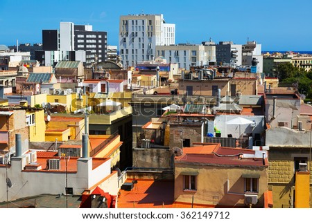 Summer view of old city from Santa Maria del mar. Barcelona, Spain - stock photo