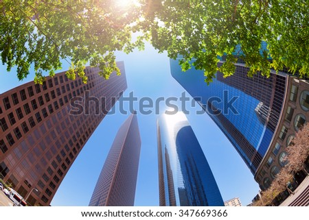 Summer view of skyscrapers in LA downtown, the USA - stock photo