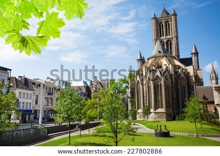 Summer view of St Nicholas' Church in Ghent - stock photo