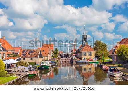 Summer view of the old village of Hindeloopen in Friesland, The Netherlands - stock photo