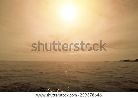 Summer vintage of tropical beach and sea of Andaman sea in Thailand. Like island. - stock photo
