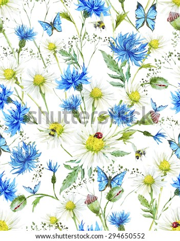 Summer Watercolor Vintage Floral Seamless Pattern with Blooming Chamomile  and Daisies Cornflowers Ladybird Bumblebee Bee and Blue Butterflies, Watercolor illustration on white background. - stock photo