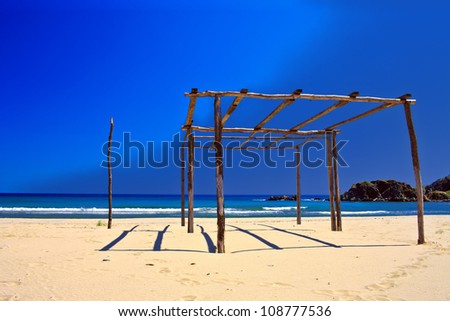 summer wood construction on the blue background - stock photo