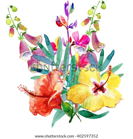 Summers flowers. Watercolor illustration. - stock photo