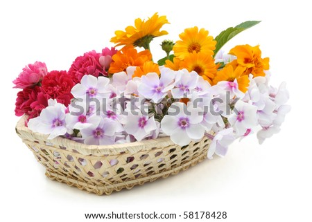 Summers fresh flowers in a basket isolated on white - stock photo