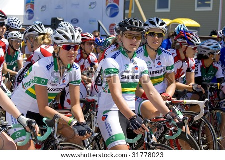 SUMMERSIDE, PRINCE EDWARD ISLAND - JUNE 7: Australian team in the Tour de PEI  event which featured some of the top girl cyclists in the world took place in Summerside, P.E.I., Canada on June 7, 2009.