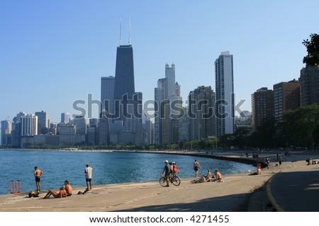 Summertime along Lake Michigan, Chicago - stock photo