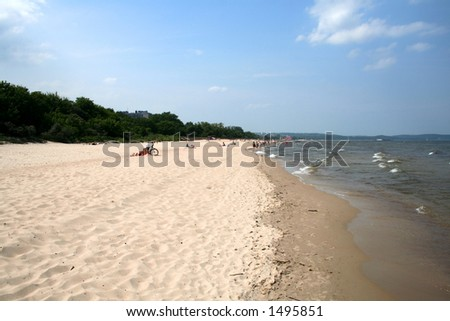 Summertime at the beach at Sopot, Poland on the Baltic sea - stock photo