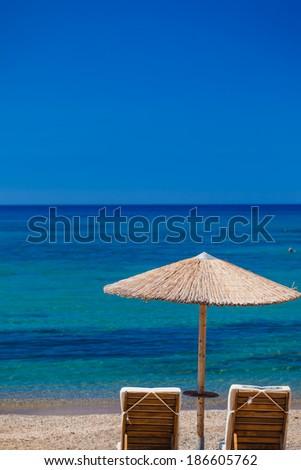 Summertime at the beach. Greece. Rhodes. - stock photo