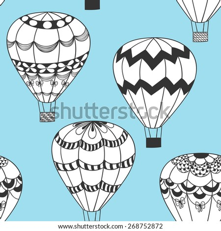 Summertime concept seamless pattern in doodle style. Cute hot air balloons zentangle stilezed background  - stock photo