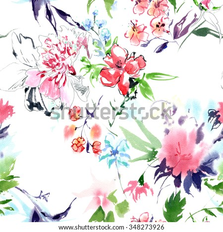 Summertime garden flowers watercolor seamless pattern on white background. Beautiful hand drawn texture. Romantic background for web pages, wedding invitations, textile, wallpaper. - stock photo