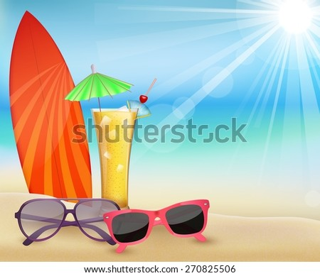 Summertime  holiday  in beach - stock photo