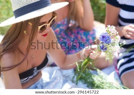 Summertime, midsummer. Cute girl outdoor - stock photo