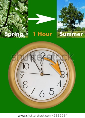 Summertime period begins (last Sunday in March in European Union), Daylight Saving Time - stock photo