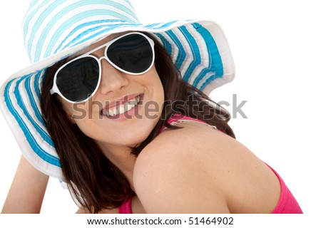 Summery woman portrait wearing hat and sunglasses - isolated over white - stock photo