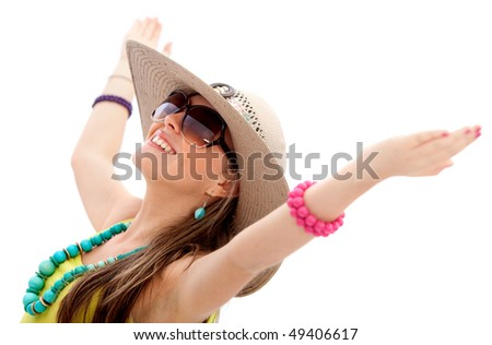 Summery woman wearing a hat and sunglasses isolated over white - stock photo